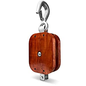 """ANR Wood Block & Tackle 12"""" Single Block, 8"""" Sheave with Hook - Vintage Style - Heavy Duty"""
