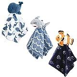 Hudson Baby Unisex Baby Animal Face Security Blanket, Fish, One Size