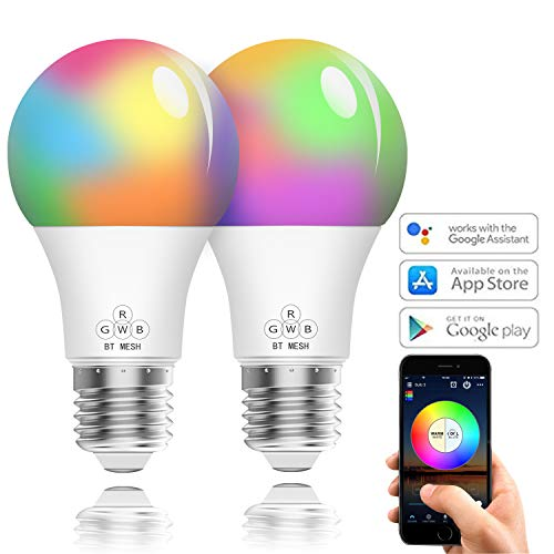 Lampadina Smart WiFi LED E27, 2 Pezzi, 4.5 W RGBW, BITIWEND Light Bulb Colorate Dimmerabile, Compatibile con Alexa, Google Home e IFTTT, non richiede hub[Classe di efficienza energetica A]
