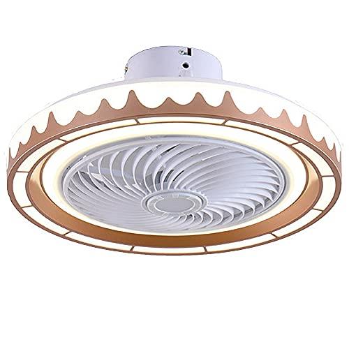 YUFENGDING Ventilador de Techo con Luces, LED Redondo Luz de Techo Ventilador con Cuchillas Invisibles Starry Sky Acrylic SHOPSHADE para NIÑOS DORMUDO DIMMABLE 220V-Gold