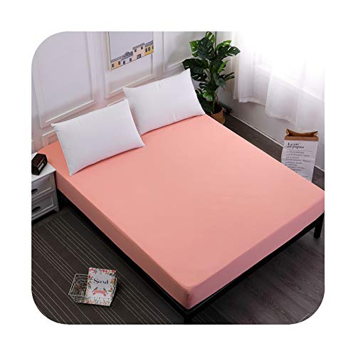 Zero Mon Full Twin Queen King Size Fitted Sheet Mattress Cover Solid Color Bedding Linens Bed Sheets with Elastic Band Bedsheet,Pink,100X200X25Cm
