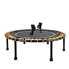 Feu 24 Minitrampolin Ø 110 cm, trampoline indoor fitness avec système de câble à l'élastique, 6 élastobänders réglables pour la dureté, résistant jusqu'à 150 kg