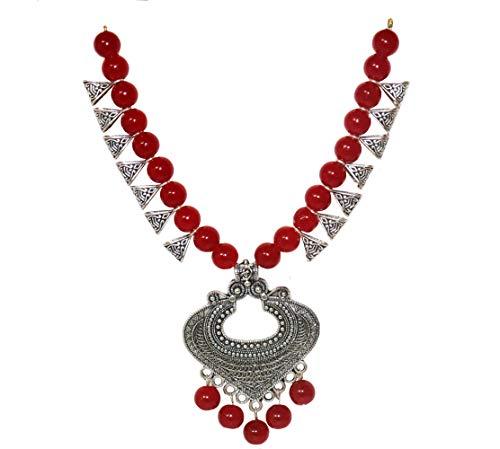 NK GLOBAL Red Statement Halsketten Set Indischer oxidierter afghanischer Schmuck Angelhaken Bohemian Dangle Ohrringe Damen Lätzchen Halskette Geschenk für Sie