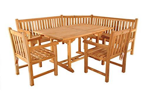 SAM Teak Holz Gartengruppe 4tlg. Madera, bestehend aus 1x Ausziehtisch, 2X Sessel, 1x Eckbank