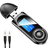 Bluetooth Adapter, Audio Transmitter and Receiver 2 in1, Wireless Bluetooth 5.0 with Display Screen, USB and 3.5mm AUX for Car/TV/Home Music Streaming Stereo System/PC/Headphones/Hands-Free Call
