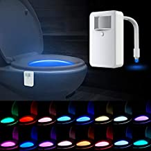 SUNNEST Toilet Night Light, Upgraded 16 Colors Motion Activated LED Toilet Light, Color Changing Toilet Bowl Night Light, Internal Memory, Light Detection, Perfect for Bathroom Decoration