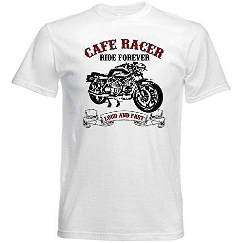 TEESANDENGINES Moto Guzzi Cafe Racer LE Mans Camiseta Blanca para Hombre de Algodon Size Large