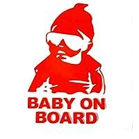 Baby on Board 反射 ステッカー ちょいワル キッズ 赤ちゃんが乗っています セーフティサイン AHKAH WORKS (レッド)