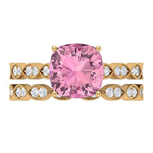 Anillo hexagonal solitario, juego de anillos de novia de oro, piedras preciosas de 3,01 quilates, D-VSSI moissanite 8,50 mm turmalina corte anillo, 18K Oro amarillo, Size:EU 64
