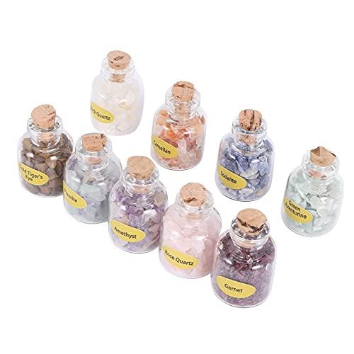 Grevis 1 caja de 9 botellas de piedras preciosas naturales con chip de cristal curativo Reiki Wicca Vicca, piedras naturales para decoración