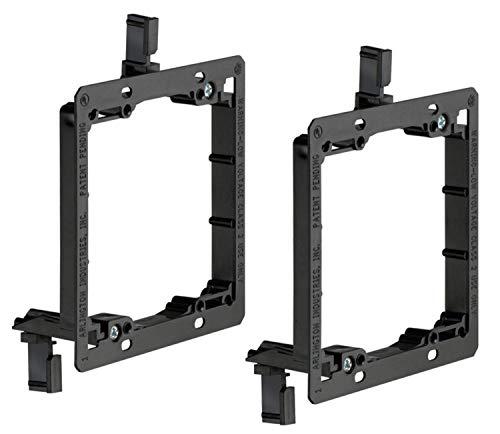 iMBAPrice Dual Gang (2-Gang) Low Voltage Mounting Bracket - Black (Pack of 2)