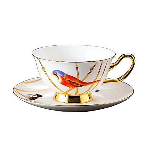 JHGF - Tazza da caffè in porcellana Bone China, stile retrò, stile retrò, per latte, cappuccino, ad alta temperatura, per casa, ufficio, pomeriggio, tazza da tè e piattino, confezione regalo (oro)