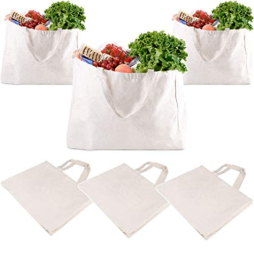 AIDBUCKS Reusable Cotton Canvas Grocery Shopping Tote Bags 12oz – 6 Pack 158 x 197 x 39 – With Flat Bottom Gusset and Side Panel