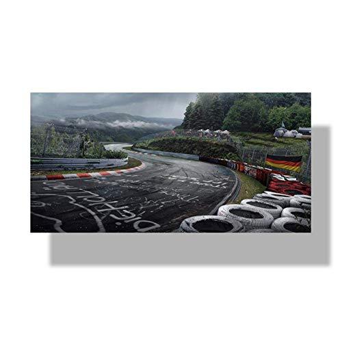 wzgsffs Póster de Arte de Pared Nurburgring Rally Road Sports Car Track HD Imprimir Lienzo Pintura Bosque Paisaje Sala de Estar Decoración del hogar Imagen-60x120cm Sin Marco