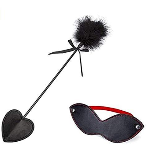 Leggings de yoga, accesorios para disfraces, teaser, cosquillas de plumas y máscara para los ojos con los ojos vendados, para hombres, mujeres, cosplay, negro