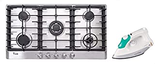 i-cook BH5090S-8-IS Gas Built-in Hob 5 Burners, 90 CM - Silver with Ultra ED-2386 Steel Dry Iron 1300 Watt - White