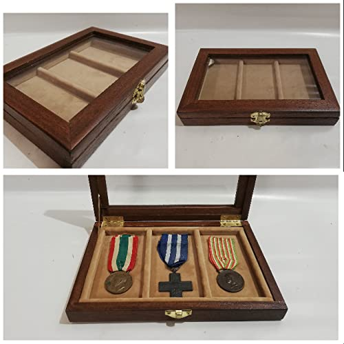 Caja de madera para medallas con cinta militares vitrina archivadora personalizable terciopelo militar