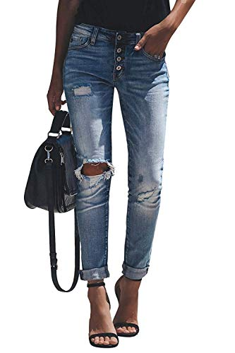 Minetom Jeans Straight Skinny Donna Vita Alta Pantaloni Tagliuzzati Strappati Larghi Vintage Casuale Slim Denim Pants C Blu XL