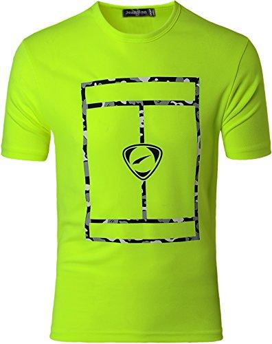 jeansian Herren Sportswear Quick Dry Short Sleeve T-Shirt LSL180 GreenYellow M