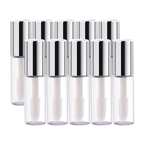 Yosoo 45Pcs Empty Plastic Clear Lip Gloss Tubes Lip Balm Bottle Container Silver Transparent 1.2ML Makeup Tool for Women