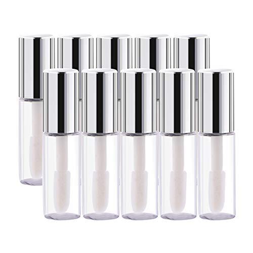 Yosoo 45Pcs Empty Plastic Clear Lip Gloss Tubes Lip Balm Bottle Container Silver Transparent 1.2ml Makeup Tool for Women
