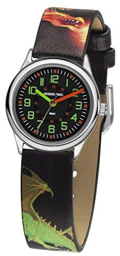 JACQUES FAREL Kinder-Armbanduhr Jungen Drache Analog Quarz Metall Leatherette HCC 333