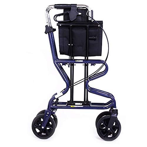 LIUQIGRASS 4 Wheel Walking Frame, Opvouwbare Heavy Duty Winkelwagen met Seat Walking Frame Aids Kinderwagen Scooter, Wiel Rollator