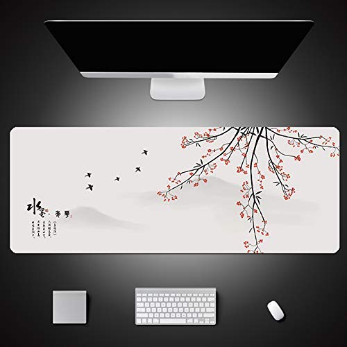 CHUTD Large Office Desk Pad Mouse Pad,Chinese Style,Plum Blossom,Non-Slip Mouse Mat for Computer Keyboard Laptop 3mm 39.4' x 23.6'