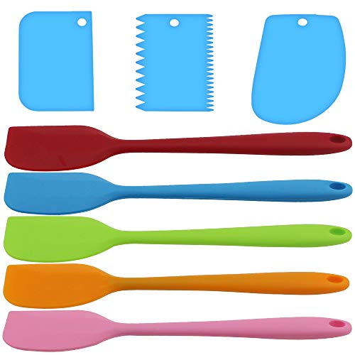 5 Piezas Espátulas Silicona Colores Múltiples Espatula Cocina Resistentes al Calor con 3 Raspadores Azules para Cocina Pasteles Nata Mantequilla Masa