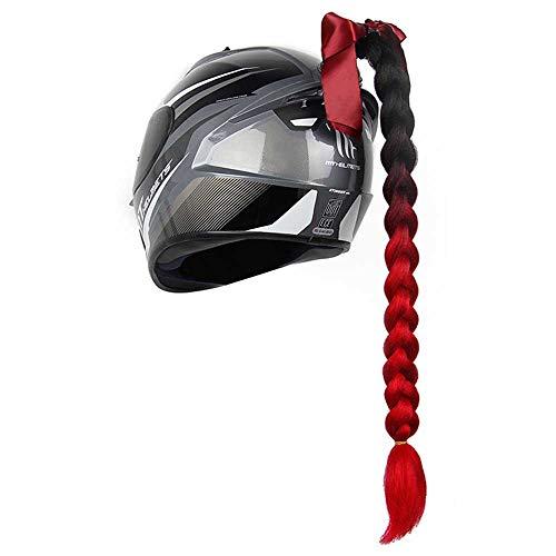 WZJN Motorrad Multi-Color Helm Gradient Twist Braids Pigtails Dirty Pferdeschwanz Punk Free Style Dekoration Motocross Off Road,H