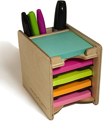 """Strictly Origamic Colored Sticky Notes Pad and Pen Holder/Organizer (Includes Five 3"""" x 3"""" Pads)"""