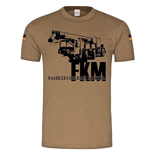 BW Tropen FKM Kran Fahrzeugkrahn Mittel Bundeswehr Pionier Logistik Versorger Maschine Einsatz T-Shirt #24357, Größe:L, Farbe:Khaki