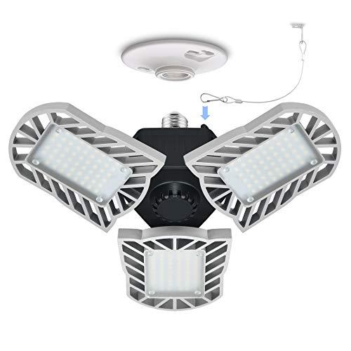 LED Garage Light,Cotanic E26 Base 6000K Daylight Deformable Garage Ceiling Light Lamp,6000LM LED Shop Lights,3 Adjustable Aluminum Panels,60W LED Light for Garage,Warehouse,Barn(NO Motion Activate)