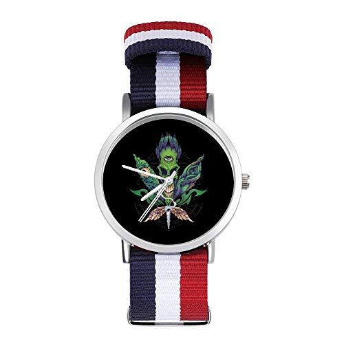 Pot Leaf Skull Leisure Strap Watches Braided Watch with Scale