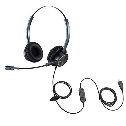 Auriculares USB con micrófono estéreo con cancelación de ruido para Microsoft Teams SKype Jabber Zoom Plug and Play para el trabajo en la escuela de clase, el aprendizaje electrónico y el hogar, etc.