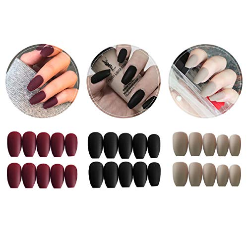 3 Boxes (72 Pcs) Matte Coffin Press on Nails - Acrylic Medium Length False Nails Set Artificial Acrylic Nails Resin Fake Fashion Nail Art Design Manicure Set