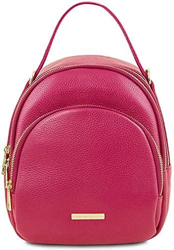 Tuscany Leather TLBag Damenrucksack aus Leder Magenta
