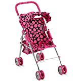 HUSHLILY - Foldable Baby Doll Stroller with Smooth Rolling Wheels with Adjustable Canopy & Basket- Pink & Black Polka Dots