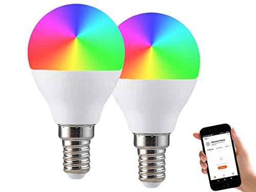 LEDLUX 2 Stück Smart Led Lampen E27 A65 15W 1300lm WiFi RGB CCT Dimmbare APP Kompatibel Amazon Alexa Google Home (E14 P45 4.5W)