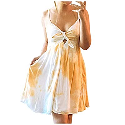 Hemgk Women Tie-Dye V-Neck Floral Printed Casual Dress Party Mini Summer Knee-Length Dress Yellow from Hemgk
