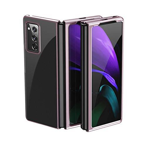 zimisu Carcasa delgada y compatible con Samsung Galaxy Z Fold 2. Carcasa rígida para Galaxy Z Fold 2, diseño de galvanoplastia a la moda, a prueba de golpes, antiarañazos, oro rosa