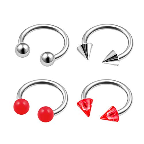 4Pcs Steel 16g 5/16 8mm Men Horseshoe Ring Piercing Jewelry Lip Helix Tragus Cartilage Daith 3mm Red Cone Ball Solid UV M9941