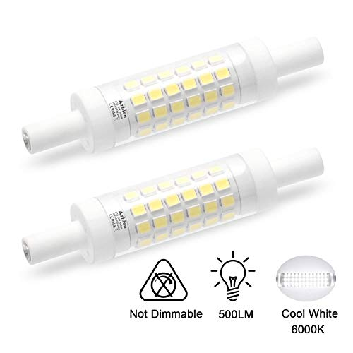 R7S LED-lamp 78 mm 5 W dubbelzijdige lineaire reflectorlamp Azhien, daglichtwit 6000 K 5 Watt niet dimbaar, equivalent aan 48 W 60 W halogeenlamp, 230 V AC, 500 LM, 360 graden, pak van 2