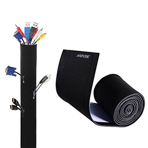 AGPTEK Universal Funda con Velcro para Cables en Material Elastico de Neopreno (Longitud 2.90 m, 13.5 cm de Amplia), 1 Pieza