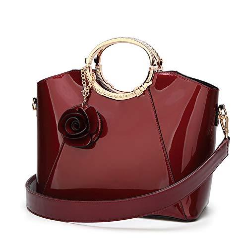 LINJIANG Bolsos De Novia De Charol Moda Bolso De Mujer Hombro Bolso Grande Rojo Vino