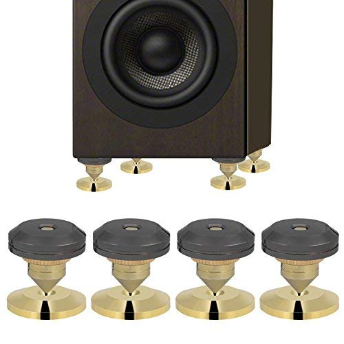 4 Pairs Speaker Spikes Base Pad with Sticker Kit, Subwoofer CD Audio Amplifier Turntable Isolation Stand Feet Cone Base Pads Stick-on Shockproof Mat with 3M Double-Sided Adhesive