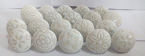 Pushpacrafts Confezione da 20pomelli in stile vintage con motivi floreali misti, colore bianco crema, in ceramica, per maniglie di porte, armadi, cassetti e credenze