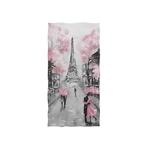AUUXVA SEULIFE Toalla suave multiusos Torre Eiffel Árbol Art, toalla de playa de baño de algodón para el hogar, cocina, natación, spa, gimnasio, 15 x 30 pulgadas