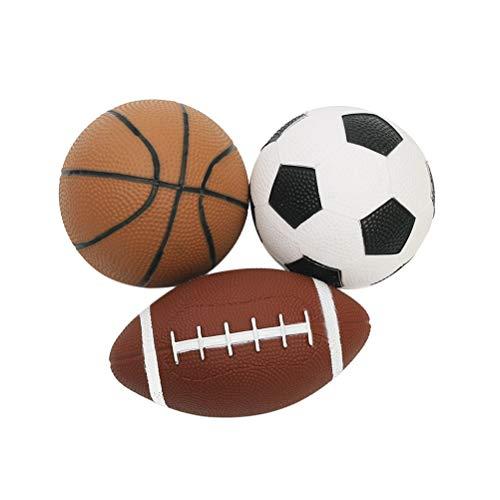 LIOOBO Mini Sportball Spielball Set für Kinder Fußball Basketball und Rugby Bälle/Spaß Spielzeug im Freien 3 Stücke