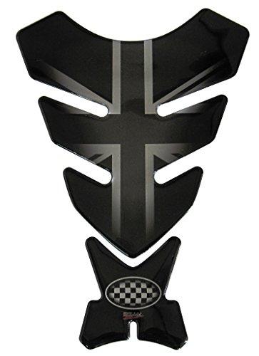 Protège-réservoir 3D – 500720 – Union Jack Silver/Drapeau Angleterre/Racing/Aspect argenté et Noir - Universel pour réservoirs Yamaha, Honda, Ducati, Suzuki, Kawasaki, KTM, BMW, Triumph et Aprilia